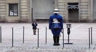 Το παιδάκι αντιγράφει τις κινήσεις του φρουρού. Δείτε τι κάνει ο φρουρός μόλις τον βλέπει!