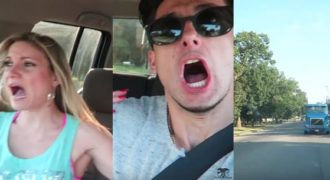 Τρομακτική φάρσα στην κοπέλα του με υποτιθέμενο διερχόμενο φορτηγό. (Βίντεο)