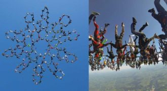 164 αλεξιπτωτιστές έσπασαν το παγκόσμιο ρεκόρ δημιουργώντας ένα λουλούδι στον ουρανό!
