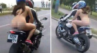 Easy rider… όπως τη γέννησε η μαμά της – Τουλάχιστον φορούσε κράνος… (video)