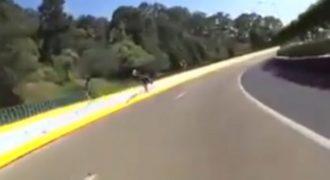 Σοκαριστικό ατύχημα σε αυτοκινητόδρομο – Αναβάτης μηχανής γλιτώνει από θαύμα! (Βίντεο)