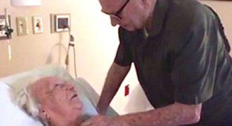 Αποχαιρετά την επί 73 χρόνια σύζυγο του, αλλά μόλις δείτε το αριστερό του χέρι…