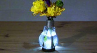 Φτιάξτε ένα φωτεινό βάζο από μια λάμπα !(Βίντεο)