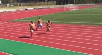 Τρεις αθλητές του Σούμο τρέχουν στο στίβο! (Βίντεο)