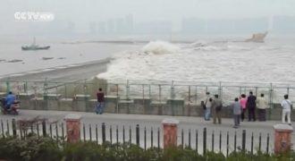 Κοιτούσαν τα κύματα όταν ξαφνικά ένα γιγαντιαίο κύμα παρέσυρε τα πάντα. (Βίντεο)