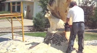Καλλιτέχνης έφτιαξε ένα ρακούν από ένα τεράστιο παλιό κορμό δέντρου ! (Βίντεο)