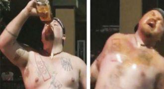 Ήπιε ένα μπουκάλι ουίσκι σε 30 δευτερόλεπτα και τον ψέκασαν με σπρέι πιπεριού – Δείτε το αποτέλεσμα!