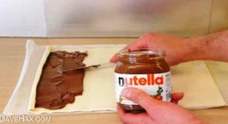 Άπλωσε την Nutella πάνω στο φύλλο και δημιούργησε το πιο γρήγορο και νόστιμο επιδόρπιο.