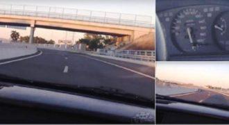 Κινηματογραφεί την στιγμή που τρέχει με το Honda Civic με 230χλμ όταν ξαφνικά. (Βίντεο)