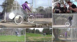 Εξόπλισαν το ποδήλατο με αερόσακο και όταν κάποιος προσπαθούσε να το κλέψει…(Βίντεο)