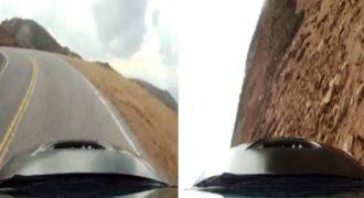 Για αυτό δεν πρέπει να οδηγούμε με μεγάλη ταχύτητα δίπλα από έναν γκρεμό. (Βίντεο)