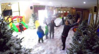 Mπαμπάς έκανε την πιο επική φάρσα στα παιδιά του σκηνοθετώντας μια χιονοθύελλα στην κουζίνα του!