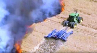 Αγρότης παλεύει με τις φλόγες και σώζει 50 στρέμματα γης.