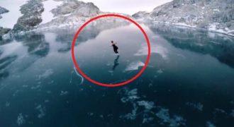 Κάνει Πατινάζ σε Παγωμένη Λίμνη. Όταν Ανοίγει το Πλάνο θα Μείνετε Άφωνοι