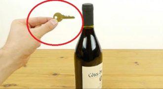 Πως να ανοίξετε ένα μπουκάλι κρασί χρησιμοποιώντας ένα απλό κλειδί. (Βίντεο)
