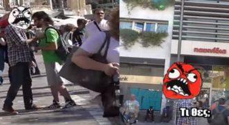 Κουρεύει αγνώστους στο κέντρο της Αθήνας… Αποτέλεσμα ; Να βρει τον μπελά του… (Βίντεο)