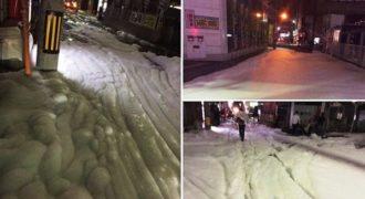 Μυστηριώδης αφρώδης ουσία γέμισε τους δρόμους στη Fukuoka της Ιαπωνίας μετά από δύο σεισμούς.