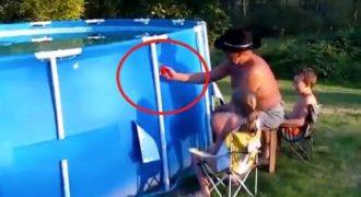 Ένας παππούς προκάλεσε Τσουνάμι προσπαθώντας να αδειάσει μια φουσκωτή πισίνα! Δείτε τις αντιδράσεις από τα εγγόνια του…