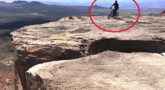 Βίντεο που κόβει την ανάσα! Έπεσε με το ποδήλατο δίπλα στο γκρεμό! (Video)