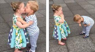 Το πιο γλυκό βίντεο! Μωρά ξεκαρδίζονται στο γέλιο αφού φιλιούνται!