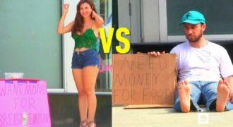 Ένας άστεγος και μια SEXY Κοπέλα ζητιανεύουν στη μέση του δρόμου. Οι αντιδράσεις των Περαστικών; Θα σας Σοκάρουν!