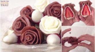 Σοκολατένια Τριαντάφυλλα με Γέμιση Φράουλας που θα σας Ξετρελάνουν!