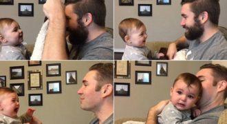 Δείτε την αντίδραση ενός μωρού όταν βλέπει τον μπαμπά του για πρώτη φορά χωρίς μούσι. (ΒΙΝΤΕΟ)