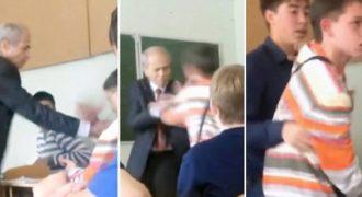 Ρώσος μαθητής δίνει γροθιά στο πρόσωπο του καθηγητή όταν του ζητάει να βγάλει τα ακουστικά.