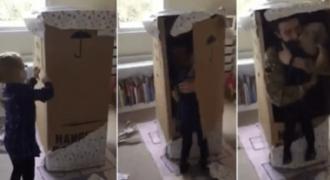 Μπαμπάς επιστρέφει απ' τον πόλεμο μέσα σε κουτί και η κορούλα του θα σας κάνει να δακρύσετε (video)