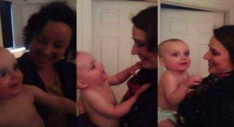 Δείτε πώς αντιδρά αυτός ο μικρός όταν βλέπει για πρώτη φορά τη δίδυμη αδερφή της μαμάς του! (βίντεο)