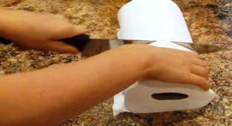 Κόβει ένα ρολό κουζίνας στην μέση. Δεν φαντάζεστε τι φτιάχνει! (Βίντεο)