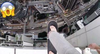 Ριψοκίνδυνος Τύπος κάνει Σκέιτ στην Κορυφή ενός Ουρανοξύστη Χωρίς Καμία Ασφάλεια. Δείτε το Βίντεο που Κόβει την Ανάσα!