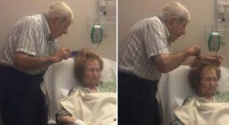 Ηλικιωμένος άντρας χτενίζει με τρυφερότητα τα μαλλιά της άρρωστης γυναίκας του