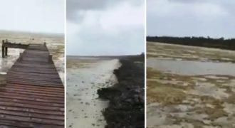 O τυφώνας Ίρμα είναι τόσο δυνατός που «άδειασε» τον ωκεανό στις Μπαχάμες